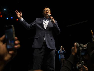 Presidential candidate Andrew Yang hosts a grassroots fundraiser at Gilley's Dallas on Dec. 6, 2019 in Dallas. This event is Yang's largest grassroots fundraiser to date.