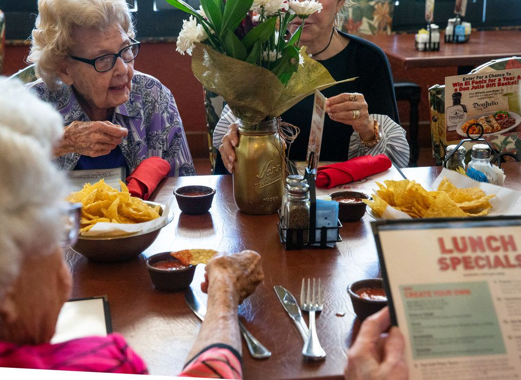 """Santillo enjoys lunch and conversation at El Fenix. """"I never thought anything like this would happen to me,"""" Santillo said. """"This little old country girl from Yoakum, Texas, getting all this attention."""""""
