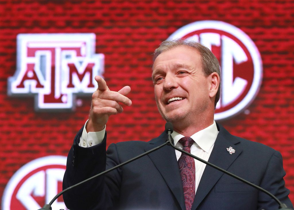 Texas A&M head coach Jimbo Fisher holds his SEC Media Days press conference at the College Football Hall of Fame on Monday, July 16, 2018 in Atlanta, Ga. (Curtis Compton/Atlanta Journal-Constitution/TNS)