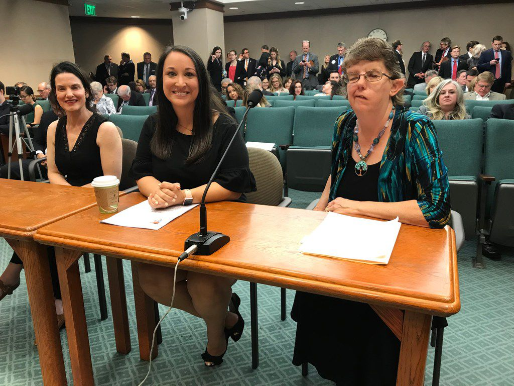 "From left, Gianna Jessen of Nashville, Claire Culwell of Pflugerville and Carrie Fischer of Houston wait to testify before the House Judiciary and Civil Jurisprudence Committee at the Texas Capitol on Monday. Plano GOP Rep. Jeff Leach described them as ""survivors"" of abortion."