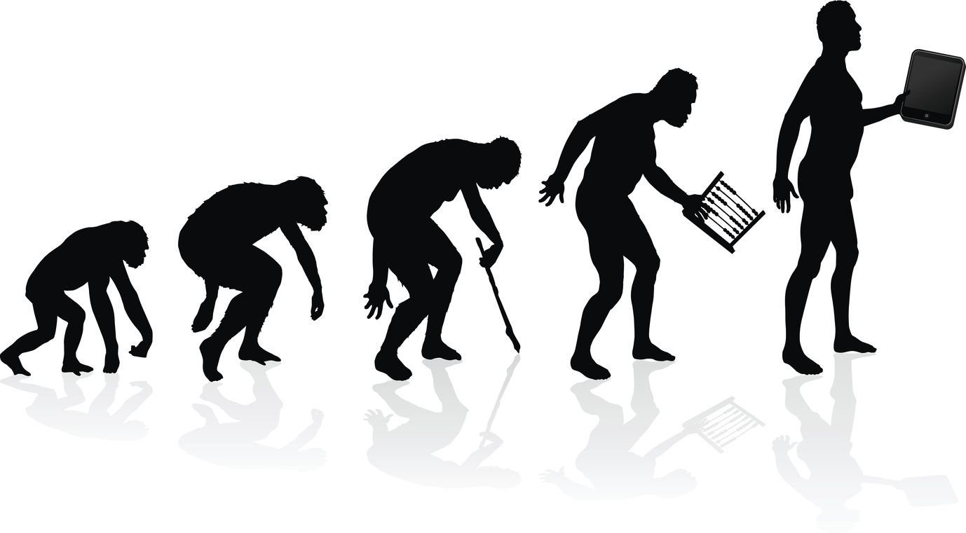 Vector illustration of depicting the Evolution of Man and Technology in silhouette. The artist also posed for these images minus the fat tummy!
