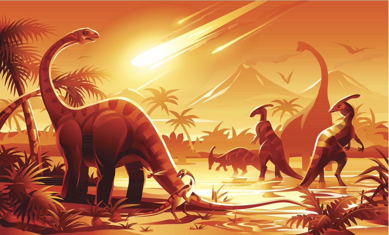 Ilustración de la teoría que señala que los dinosaurios desaparecieron a raiz de un meteorito que impactó la tierra hace 66 millones de años.(GETTY IMAGES)