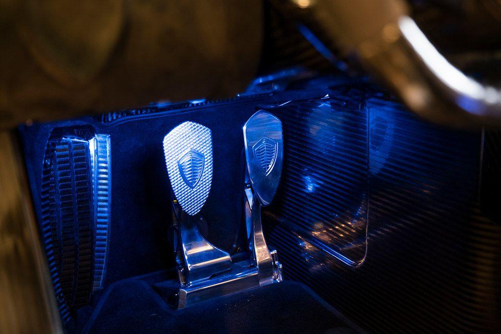 The driving pedals of a Koenigsegg Jesko.