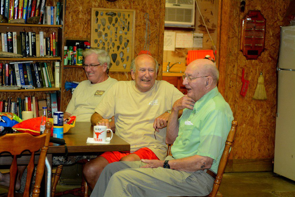 Right to left, Walter Biggs, Alan Haynes and Beau Biggs, spinning yarns in a Concho County hunting camp. Walter Biggs told how a popular fishing lure, the Zara Spook, got its unusual name.