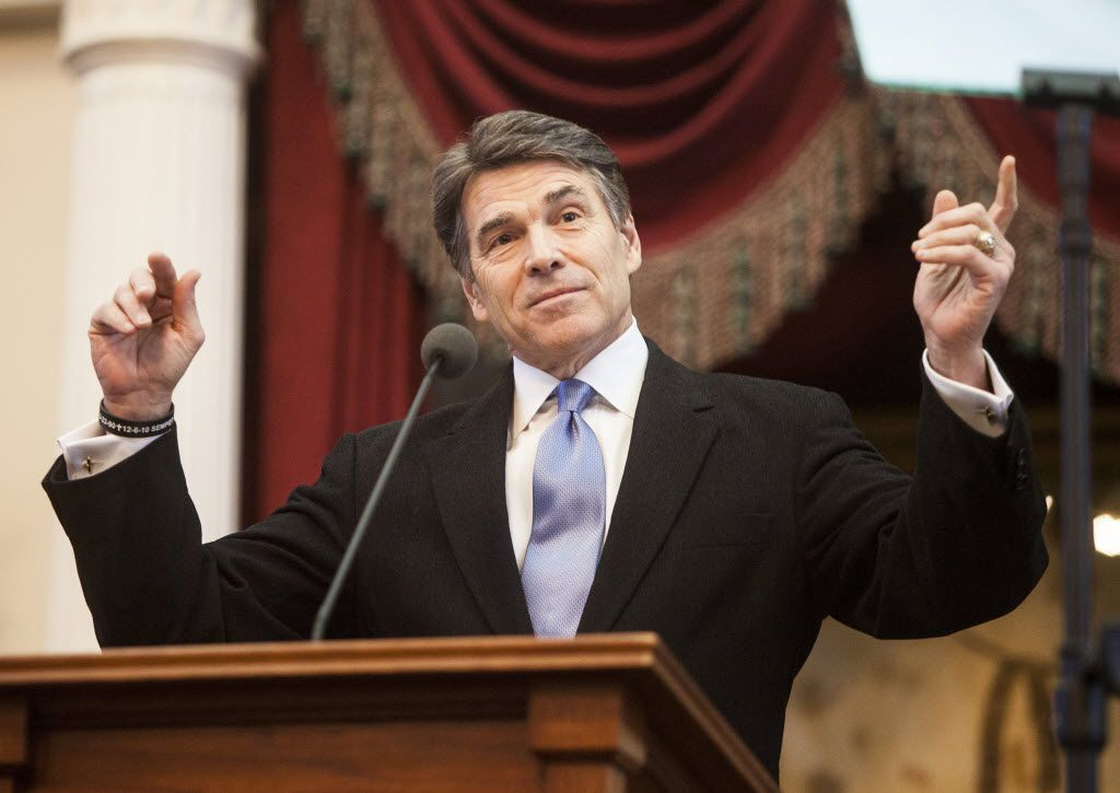 Gov. Rick Perry speaks on the opening day of Texas' biennial legislation season, at the State Capitol in Austin on Jan. 8, 2013. (Ben Sklar/The New York Times)