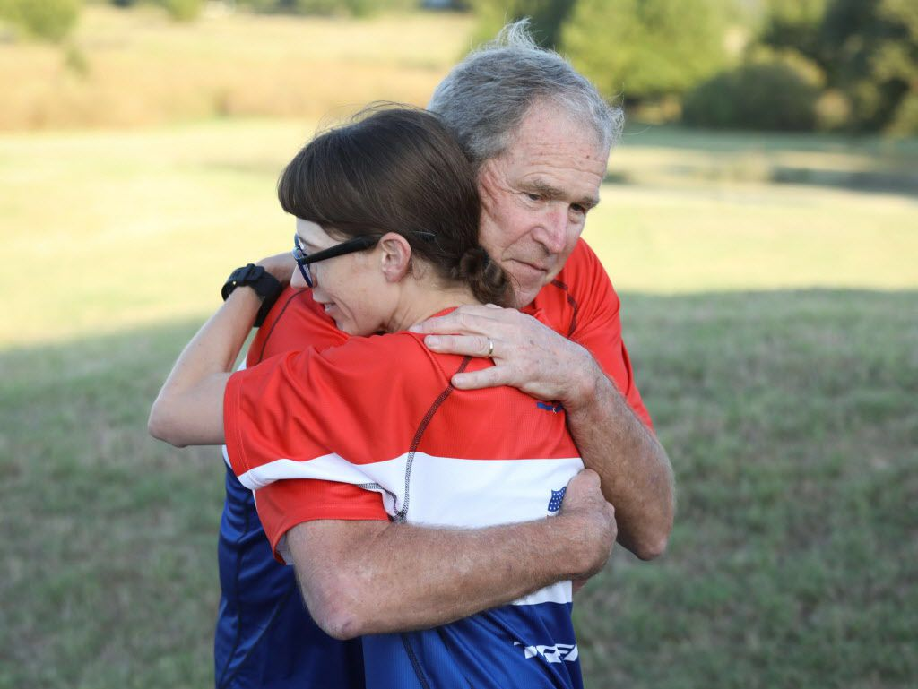 Former President George W. Bush greets a participant in the Warrior 100K. On Oct. 7, the Bush Center hosted the 7th annual event at Prairie Chapel Ranch. 52 Team 43 alumni joined Bush for a two-day ride. (Photo by Paul Morse for the George W. Bush Presidential Center)