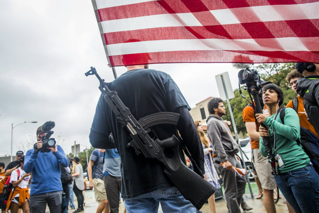 Gun activists march close to The University of Texas campus December 12, 2015 in Austin, Texas. (Photo by Drew Anthony Smith/Getty Images)