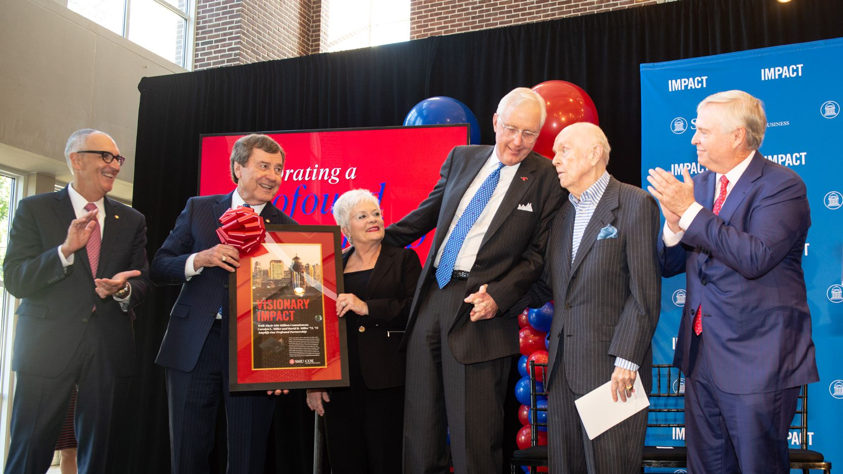 From left: Matt Myers, dean of SMU's Edwin L. Cox School of Business; R. Gerald Turner, SMU president; Carolyn and David B. Miller; Ed Cox, business school namesake; and Robert Dedman Jr., chairman of SMU's board of trustees; celebrated the announcement of the Millers' $50 million gift on Oct. 18.