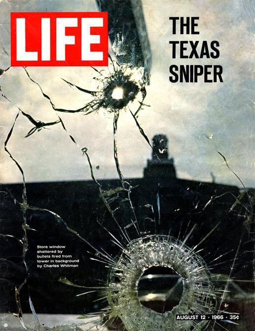 The cover of the Aug. 12, 1966 LIFE magazine featured Shel Hershorn's photo for a story on the UT Austin shooting. The image showed the tower from which Charles Whitman opened fire on strangers below as seen through bullet-pocked glass of store window across the street in Austin, TX.