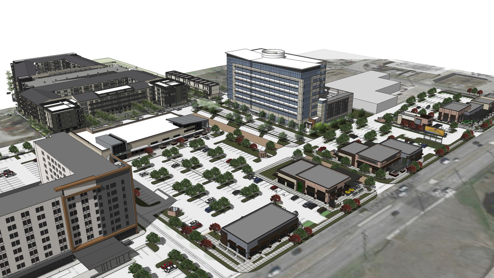 The 37-acre West Love mixed-use project includes two hotels, apartments, office and retail space.