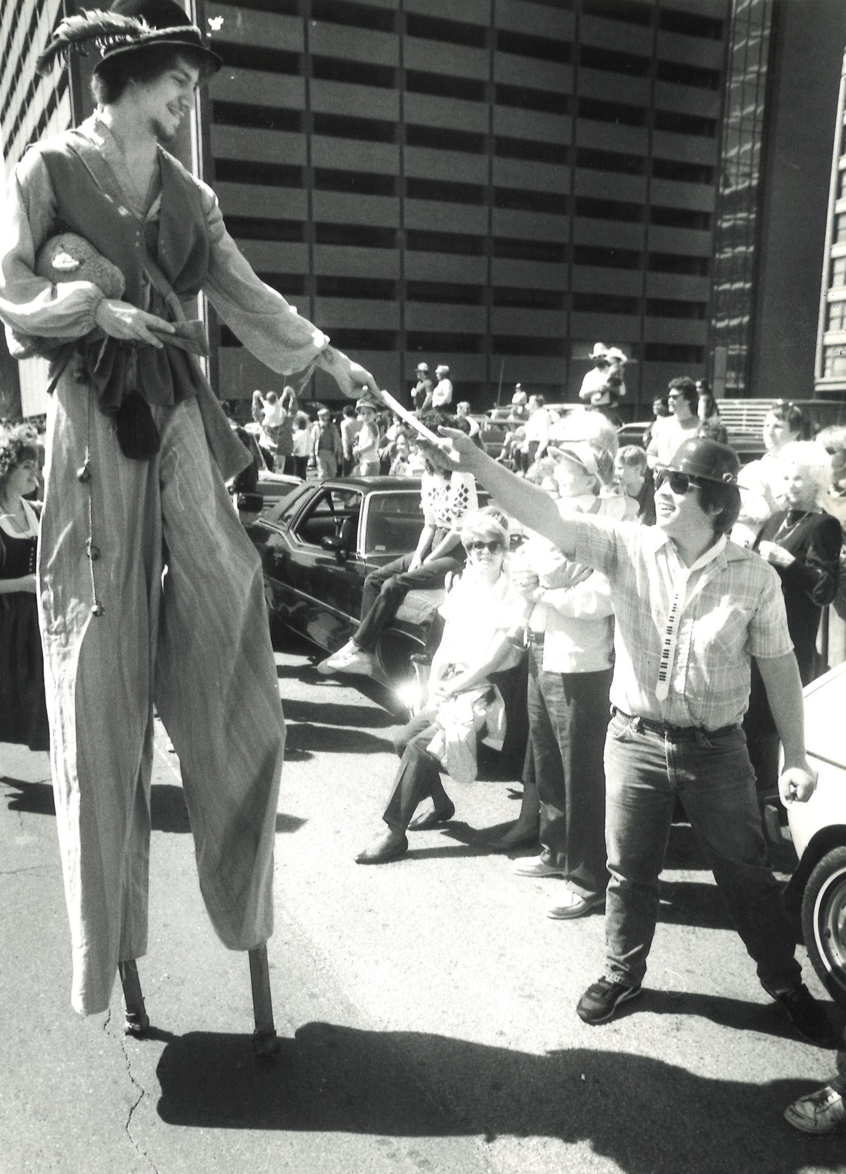 1985: Downtown Dallas St. Patrick's Day revelers.