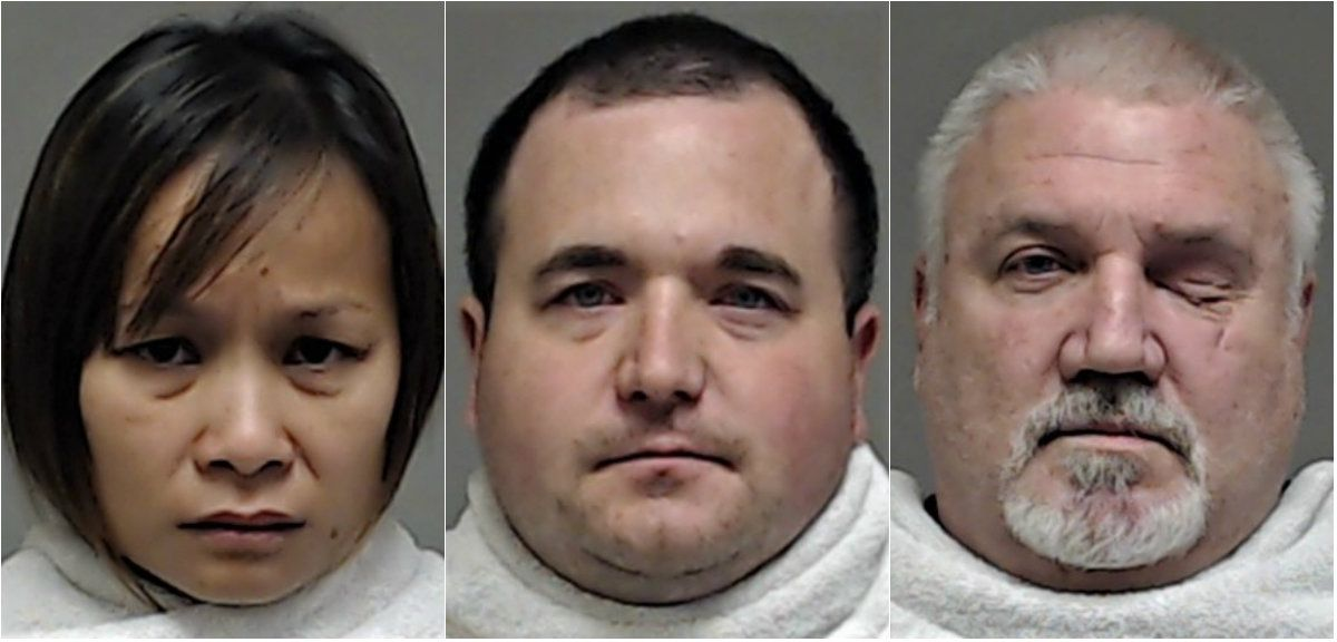 Chansamorn Pokai (left) told boyfriend Stephen Brockway (center) that she was miserable in her marriage to Richard Moore. Together, the two hatched a plan to hire out Moore's death. Ronald Rosser (right) shot Moore to death in his bathroom.