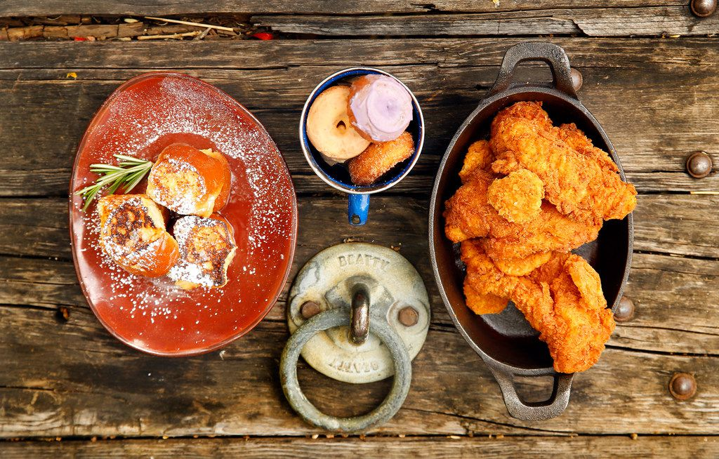 Baby fried toast (hand-cut challah, soaked in vanilla custard and topped with house-made rosemary syrup), daily donuts, and hot chicken (Nashville-style spicy fried chicken and dill pickles) are on the Jam 'N Toast brunch menu at The Rustic for Mother's Day.