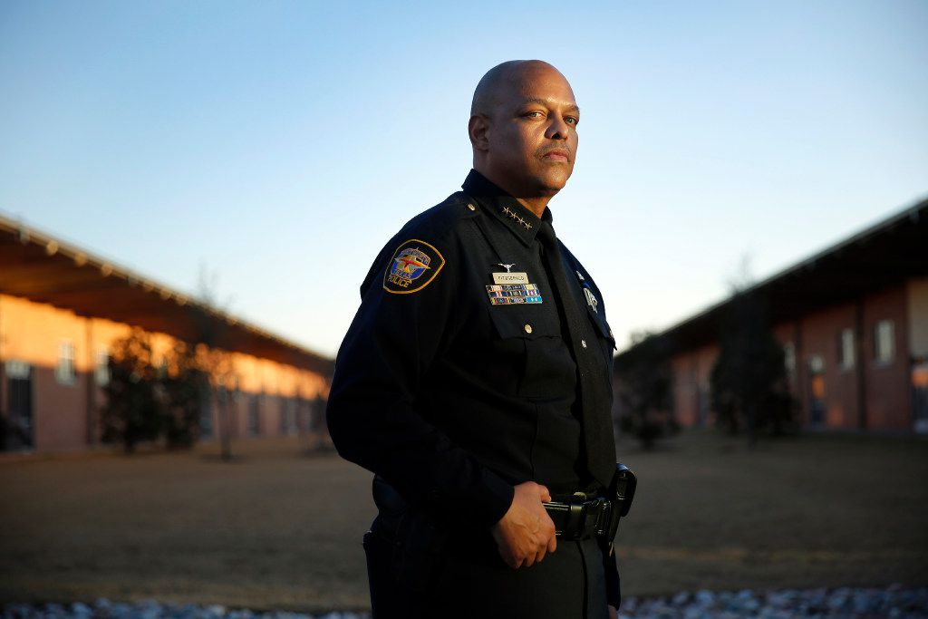 Fort Worth Police Chief Joel Fitzgerald poses for a photo outside his office at the Bob Bolen Public Safety Complex in Fort Worth on Jan. 19.