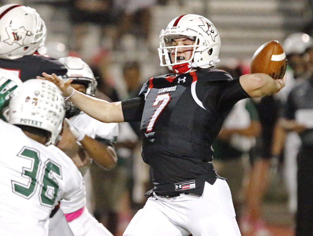 Lovejoy High School quarterback Carson Collins (7) throws a pass during the first half as Lovejoy High School hosted Mesquite Poteet High School at Leopard Stadium in Lucas on October 28, 2016.  (Stewart F. House/Special Contributor)