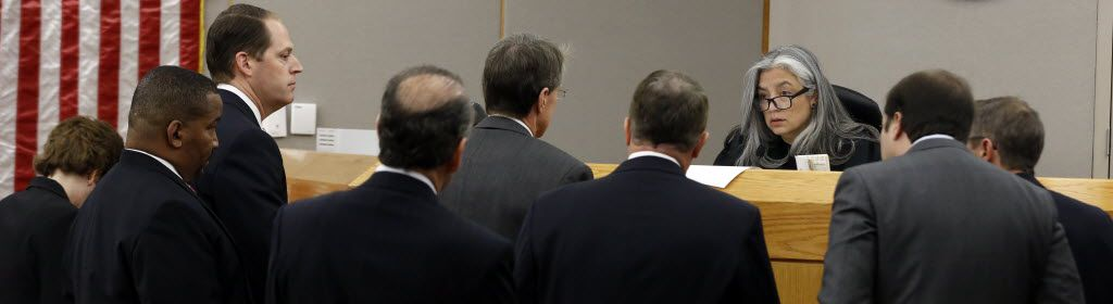 Then-state District Judge Lena Levario of the 204th Criminal District Court listened to attorneys from the Dallas County district attorney's office and from lawyers representing Al Hill III during a prosecutorial misconduct hearing against District Attorney Craig Watkins. (2013 File Photo/David Woo)