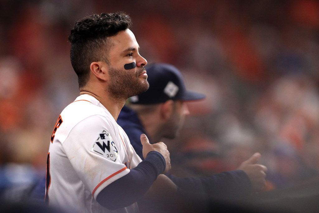 Jose Altuve of the Houston Astros looked on from the dugout after hitting a three-run home run against the Los Angeles Dodgers in Game 5 of the 2017 World Series at Minute Maid Park in Houston.