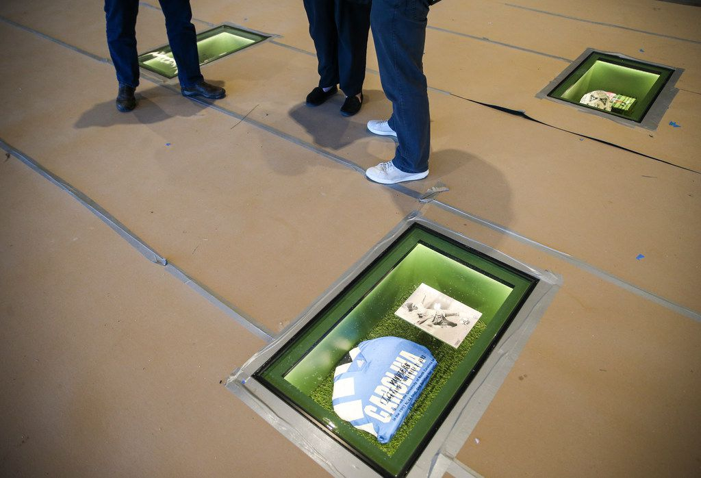 This is one of 22 display cases celebrating the 22 greatest moments in soccer history. The cases are built into the floor of the Hall of Fame Club that connects with the National Soccer Hall of Fame at Toyota Stadium in Frisco, Texas.