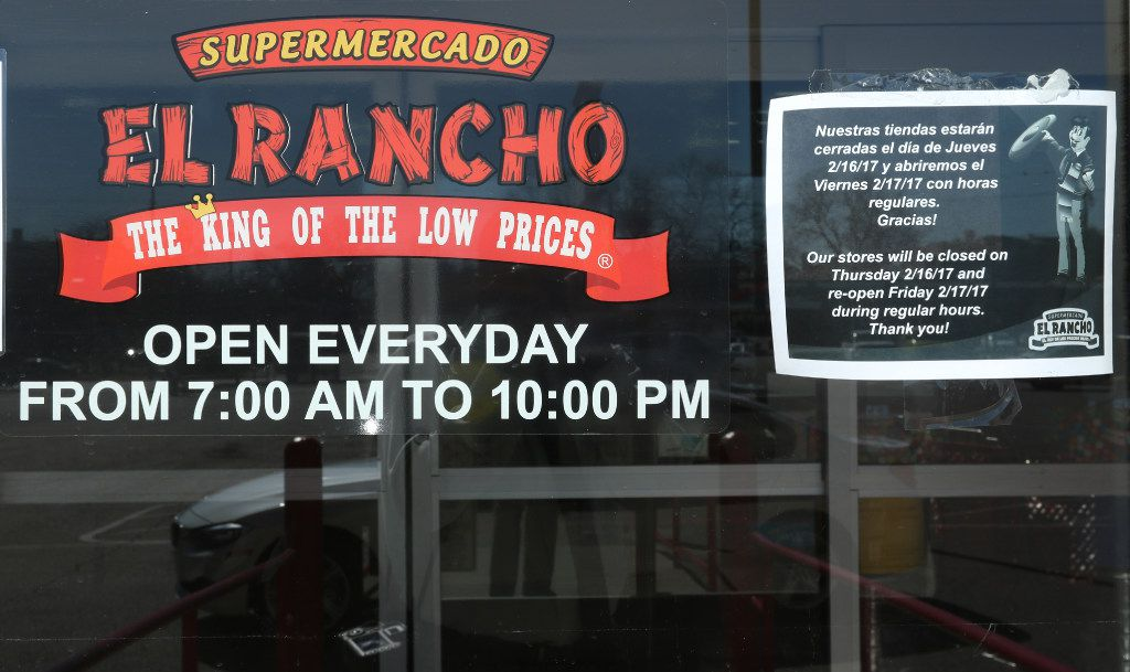 """A sign, in English and Spanish, on the door of Supermercado El Rancho, on 4121 Gaston Ave., in Dallas, informs their customers that their store would be closed on Thursday, 2/16/17 in support of the """"Day Without Immigrants"""" protest. Across Dallas, the state, and nation, shops and restaurants closed in solidarity on Thursday for a """"Day Without Immigrants. (Irwin Thompson/The Dallas Morning News)"""