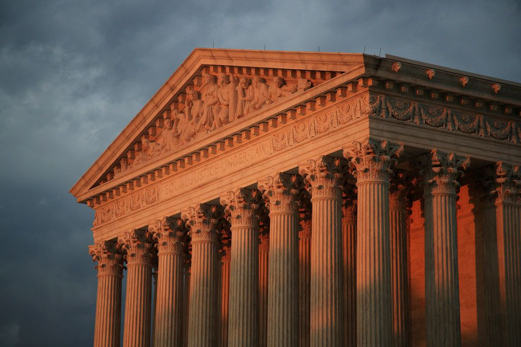 The U.S. Supreme Court at sunset.