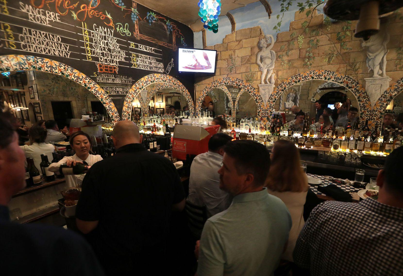 The bar, with Gillian Bradshaw-Smith's Italian landscape murals