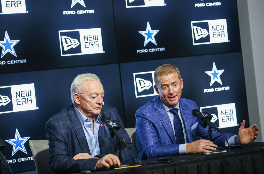 Dallas Cowboys owner Jerry Jones, left, and head coach Jason Garrett speak to reporters after the second night of the NFL Draft on Friday, April 26, 2019 at The Star in Frisco, Texas. (Ryan Michalesko/The Dallas Morning News)