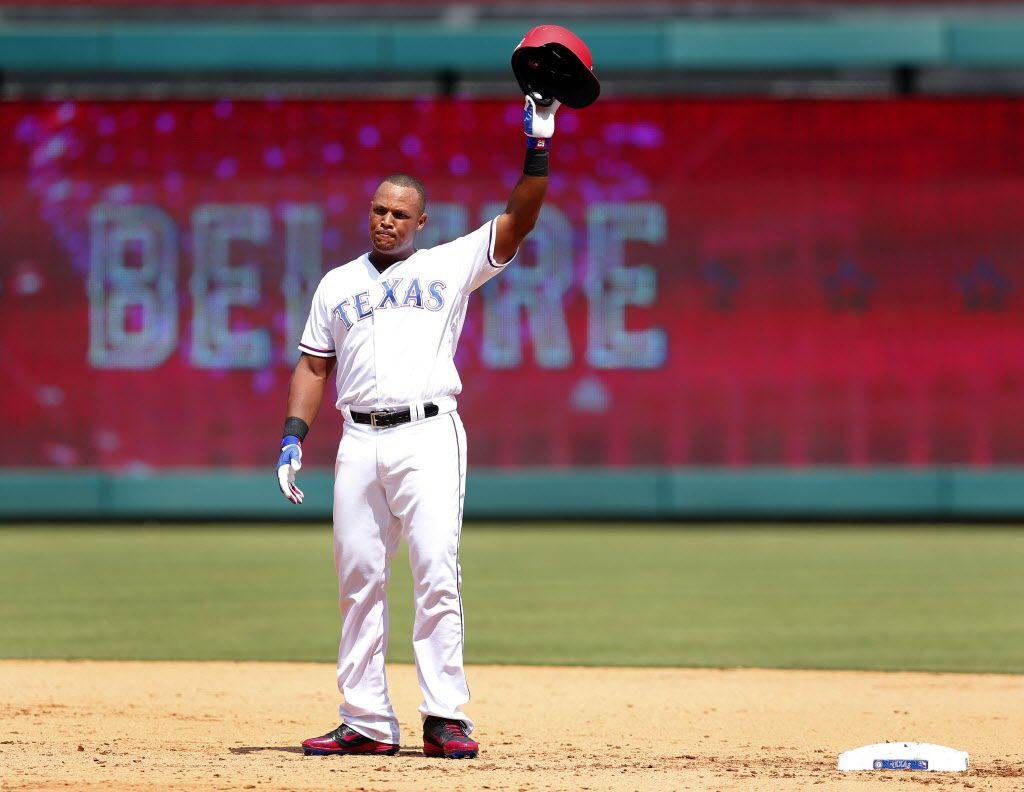 Texas Rangers Adrian Beltre (29) waves to crowd after achieving his 3,000 career hit in the fourth inning at Globe Life Park in Arlington, Sunday, July 30, 2017. (Tom Fox/The Dallas Morning News)