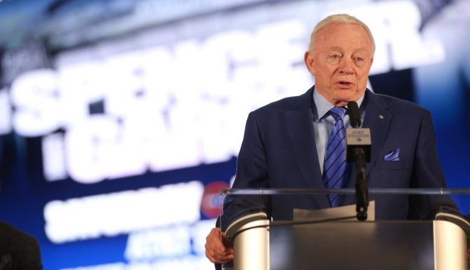 Dallas Cowboys owner Jerry Jones speaks during a press conference for the Premier Boxing Champions fight between Unbeaten IBF Welterweight World Champion Errol Spence Jr. and undefeated four-division world champion Mikey Garcia at AT&T Stadium on Tuesday, Feb. 19, 2019. The match will take place at AT&T Stadium on March 16, 2019.  (Rose Baca/Staff Photographer)