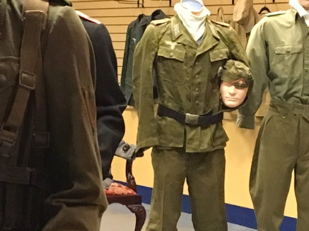 One of the last few years' efforts to re-purpose Valley View Mall, a privately owned World War II exhibit. Last week, it was a fenced-off collection of uniformed mannequins, including a Luftwaffe officer cradling his head under one arm.