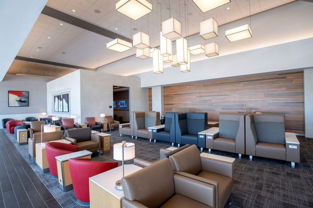 An overall view of a common seating area in the new American Airlines Flagship Lounge on Monday, May 13, 2019 in Terminal D at DFW Airport in Grapevine, Texas. (Jeffrey McWhorter/Special Contributor)