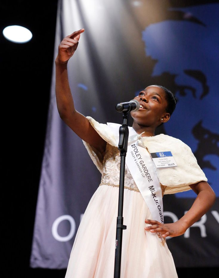 Tynia Matts, a fifth- grader at John Neely Bryan Elementary School, delivers her third place speech before an audience at W.H. Adamson High School in Dallas, Thursday, January 17, 2019.