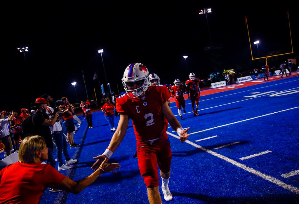 Parish Episcopal quarterback Preston Stone celebrates after a Panthers touchdown during a high school football game between Parish Episcopal and Trinity Christian-Cedar Hill on Thursday, Sept. 5, 2019 in Dallas. (Ryan Michalesko/The Dallas Morning News)