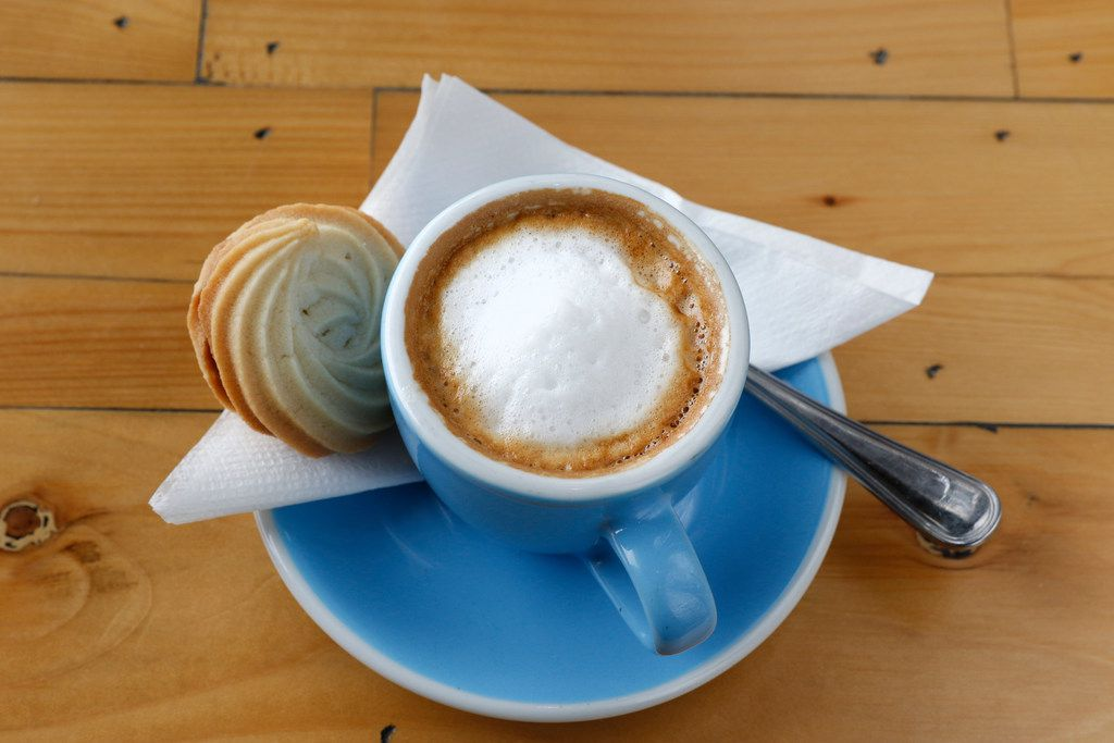 A cup of espresso macchiato servered with homemade nutella sugar cookie at Toasted Coffee + Kitchen in Dallas on Tuesday, September 26, 2017. (David Woo/The Dallas Morning News)