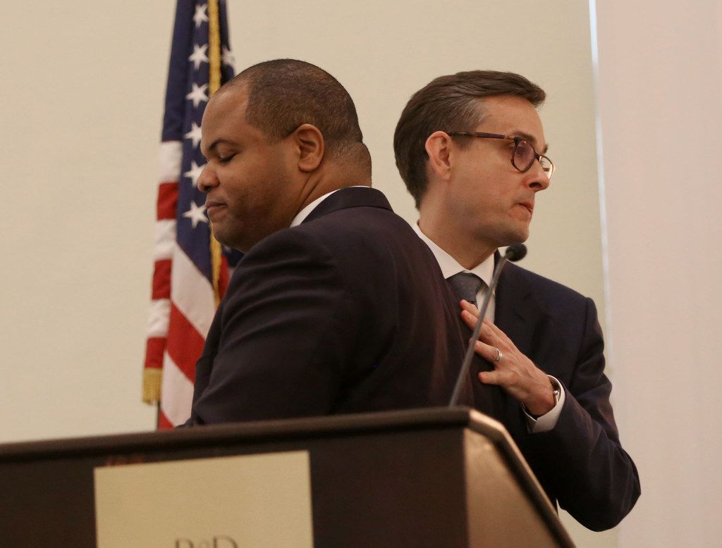 Candidates Eric Johnson (left) and Scott Griggs greet each other before the Dallas mayoral debate at the Belo Mansion in Dallas on Monday, May 13, 2019. Dallas Morning News political reporter Gromer Jeffers, Jr. moderated the event, which was sponsored by the League of Women Voters of Dallas, the Dallas Friday Group and the Public Forum Committee of the Dallas Bar Association. (Rose Baca/The Dallas Morning News)