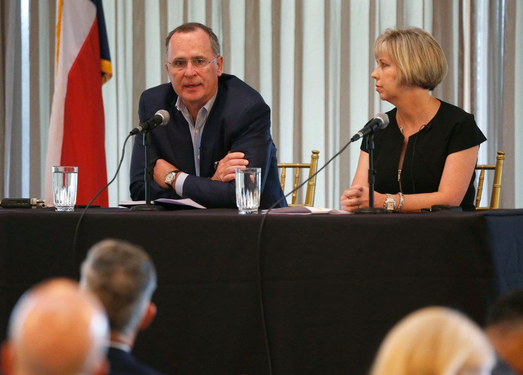 Todd Williams, executive director of education nonprofit The Commit Partnership, spoke as Missy Bender, Plano ISD school board president, looked on during a panel discussion Thursday on school finance at the Plano First Executive Breakfast Series at Gleneagles Country Club in Plano.