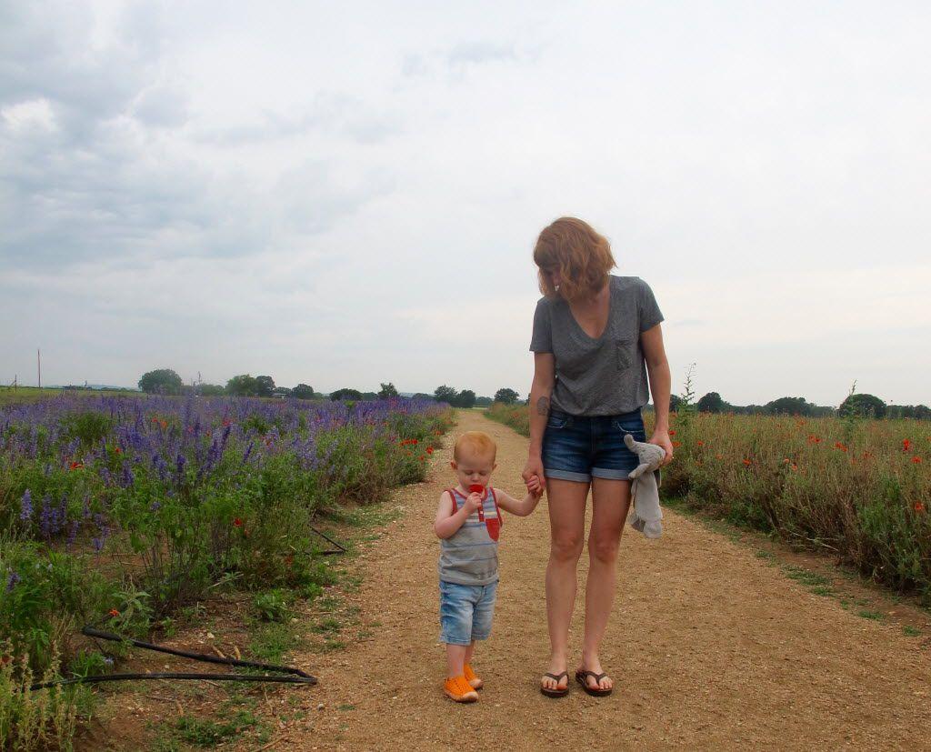 A mom and her toddler walk along the flower garden path at Becker Vineyards.
