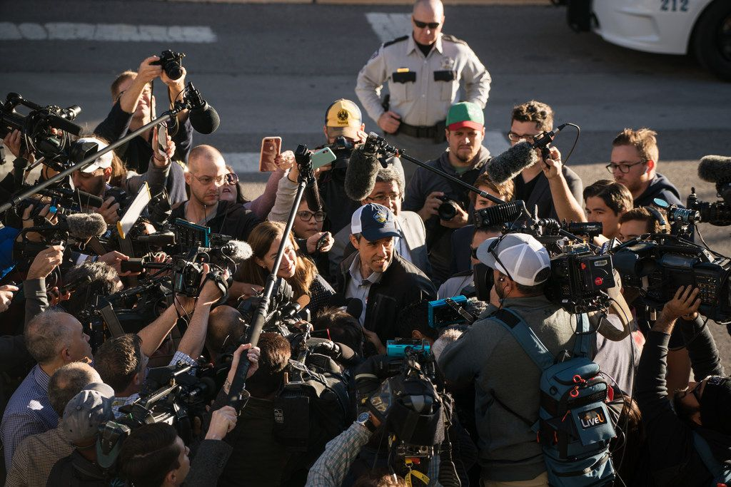 Rep. Beto O'Rourke surrounded by news media after voting in El Paso on Nov. 6, 2018.  (Todd Heisler/The New York Times)