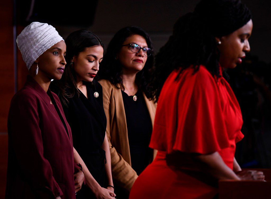 "U.S. Reps. Ayanna Pressley, D-Mass., speaks as Ilhan Abdullahi Omar, D-Minn., Rashida Tlaib, D-Mich., and Alexandria Ocasio-Cortez, D-N.Y., hold a news conference to address remarks made by President Donald Trump earlier in the day. Trump said of the four:  If they're not happy in the United States ""they can leave."""