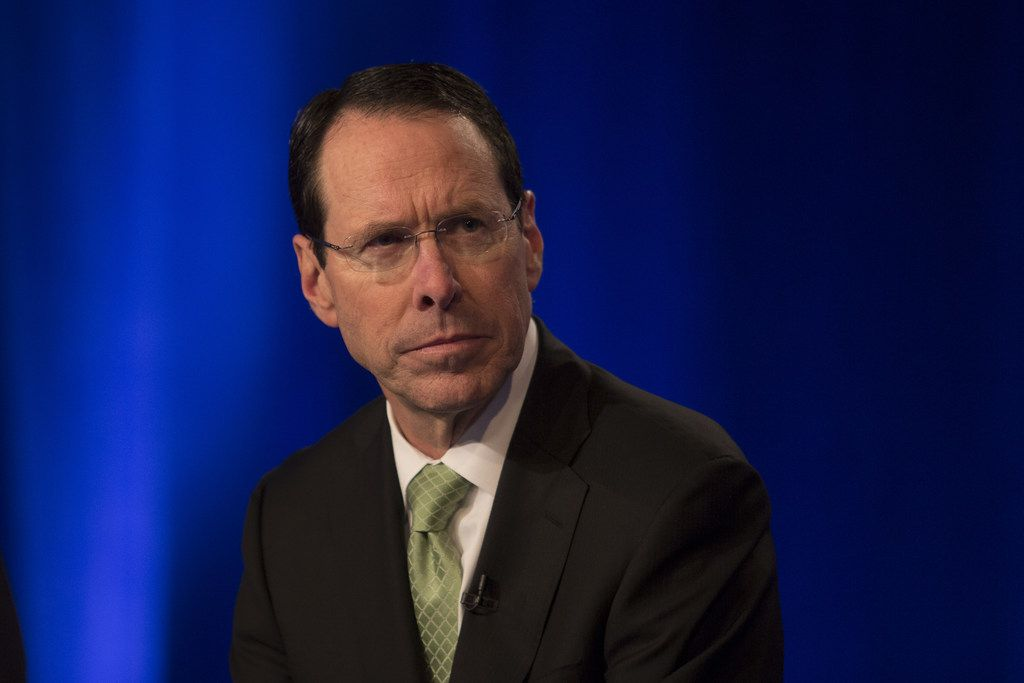 AT&T Chairman and CEO Randall Stephenson speaks at a news conference in Time Warner headquarters addressing the latest developments in the AT&T and Time Warner merger on November 20, 2017 in New York City.