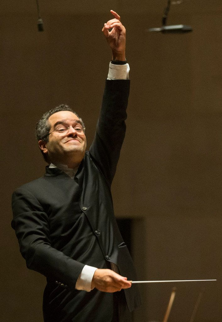 Conductor Andrew Grams conducts the Dallas Symphony Orchestra in a selection from Tchaikovsky's Sleeping Beauty at the Meyerson Symphony Center in Dallas on Friday, November 23, 2018.