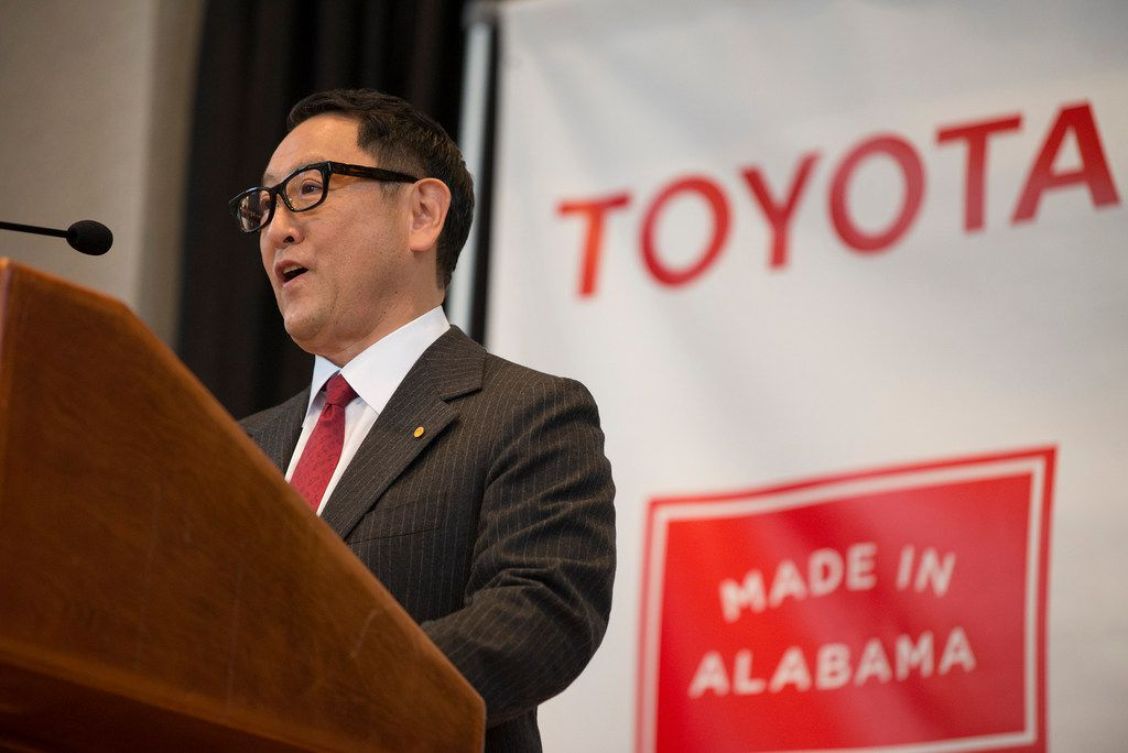 Akio Toyoda, Toyota Motor Corp. president, speaks during a press conference, Wednesday, Jan. 10, 2018, in Montgomery, Ala., where Japanese automakers Toyota and Mazda announced plans to build a huge $1.6 billion joint-venture plant in Huntsville. Several states had competed for the coveted project.