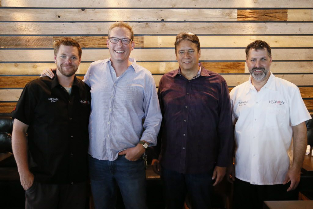 Staff from left to right, chef Jeff Qualls, general manager Dennis Egert, assistant general manager Charles Bruen and sous chef Thomas Holt are photographed at their new restaurant, Hickory by Kent Rathbun in Plano, TX on Thursday, June 4, 2015.