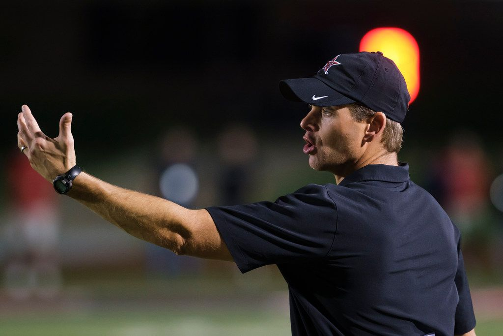 Coppell head coach Mike DeWitt works the sidelines during the second half of a high school football game against Hebron on Friday, Oct. 4, 2019, in Coppell, Texas. (Smiley N. Pool/The Dallas Morning News)