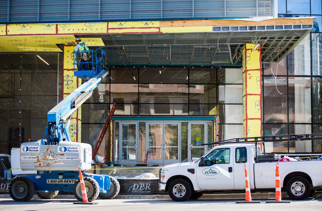 Construction continues on The Union on Sept. 20, 2018 at the corner of Field Street and Cedar Springs Road in Dallas. The office and apartment buildings will include a Tom Thumb grocery store.