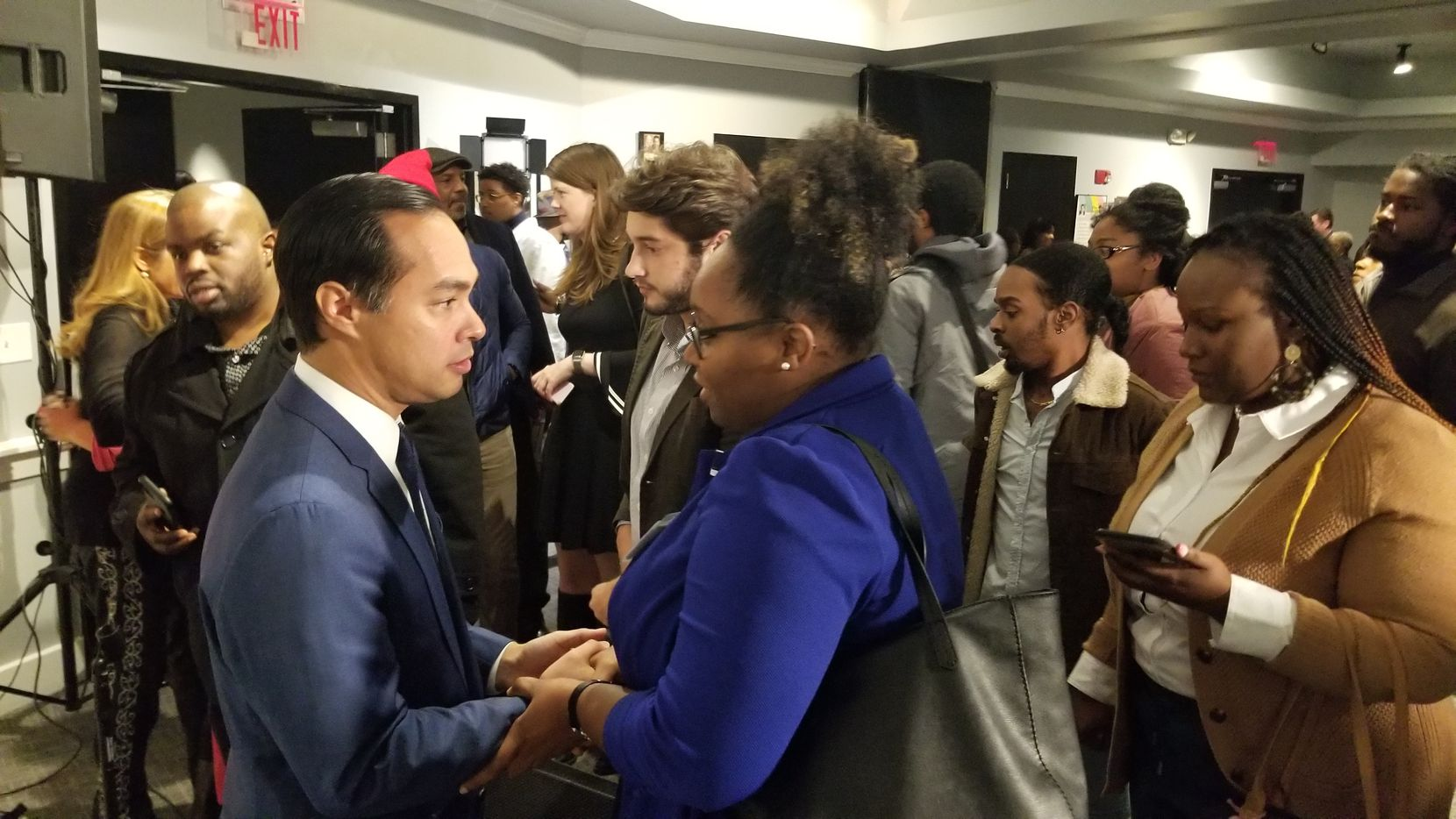 Julian Castro stumps in Atlanta on Nov. 19, 2019, at Paschal's restaurant, the night before the fifth Democratic presidential debate. He didn't make the cut.