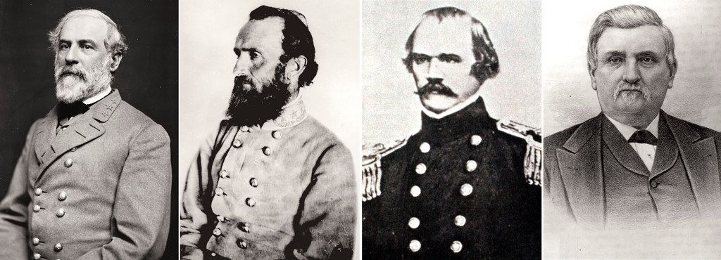"""The Dallas ISD board of trustees is renaming four schools named after Confederate generals: (from left) Robert E. Lee, Thomas """"Stonewall"""" Jackson, Albert Sidney Johnston and William L. Cabell."""