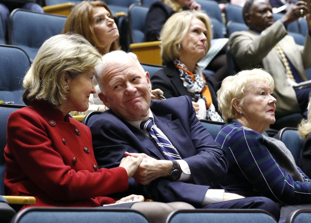 Former U.S. Sen. Kay Bailey Hutchison received a congratulatory handshake from billionaire oilman Ray Hunt in February after the Dallas City Council voted 8-7 against allowing the Exxxotica porn expo to return to the Kay Bailey Hutchison Convention Center. (David Woo/Staff Photographer)