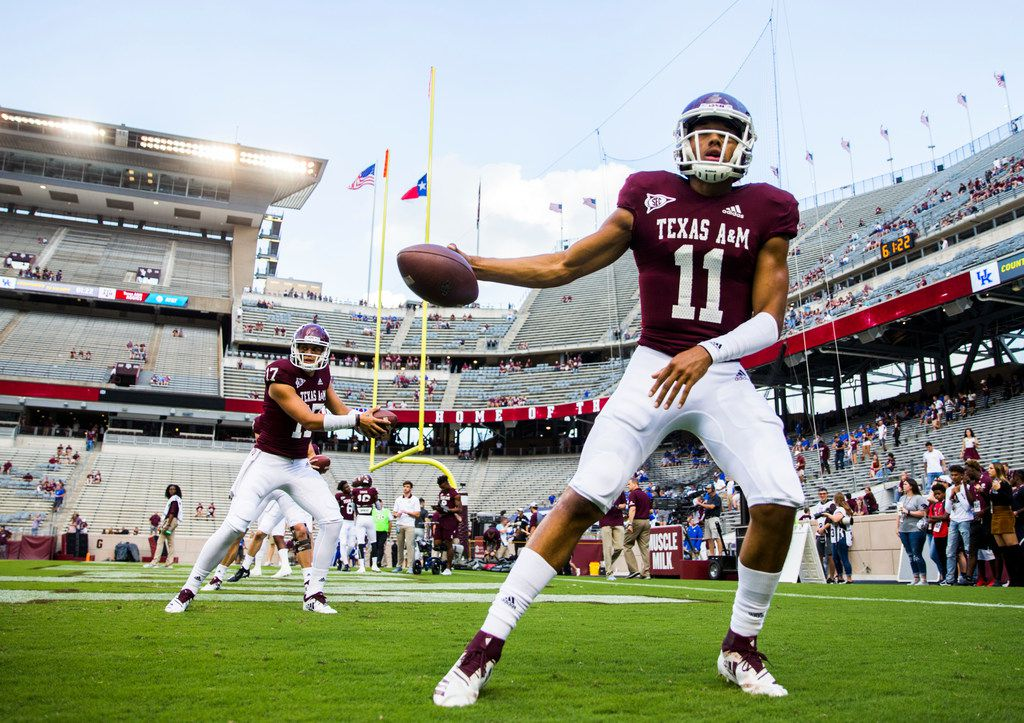 Texas A&M Aggies quarterback Kellen Mond (11) warms up before an NCAA football game between Kentucky and Texas A&M on Saturday, October 6, 2018 in College Station, Texas. (Ashley Landis/The Dallas Morning News)
