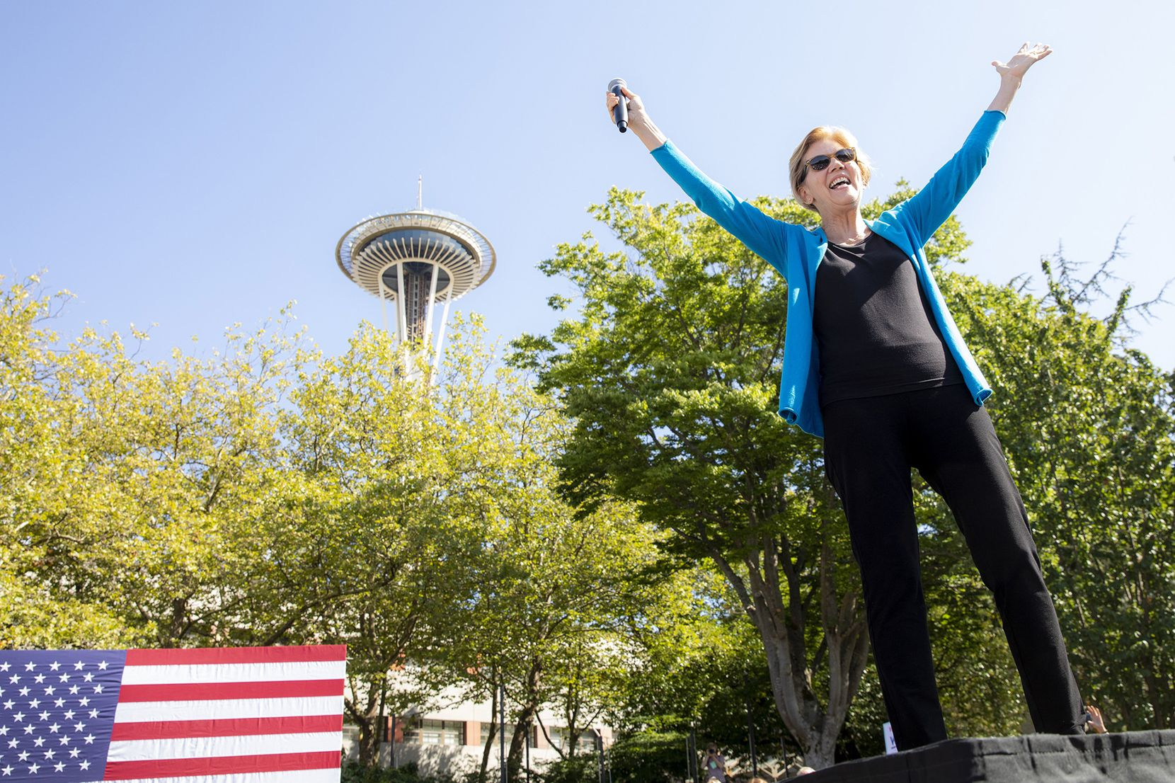 Democratic presidential candidate Elizabeth Warren, a U.S. senator from Massachusetts, campaigns with a town hall event at Seattle Center Sunday, Aug. 25, 2019.