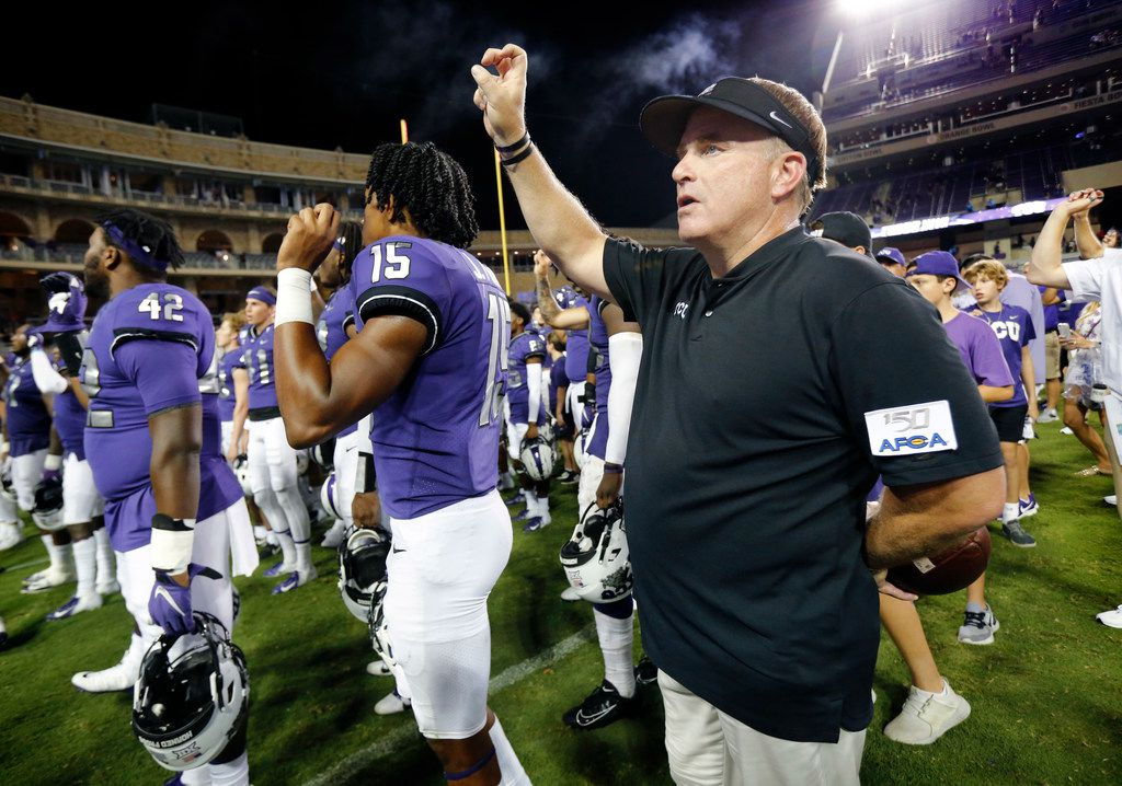 TCU Horned Frogs head coach Gary Patterson sings the school song after he and his team defeated the Arkansas-Pine Bluff Golden Lions at Amon G. Carter Stadium in Fort Worth Texas, Saturday, August 31, 2019. TCU defeated Arkansas-Pine Bluff, 39-7.